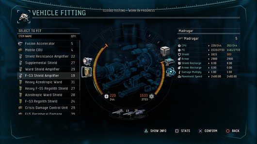 DUST 514- vehicle fitting screen