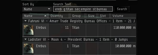 EVE Online - asset search update
