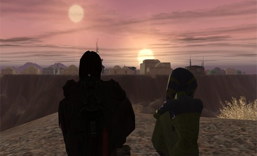 Star Wars Galaxies - Tatooine twin sunset