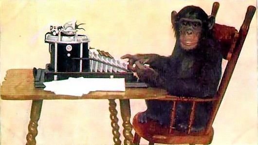 Pic of chimp typing on a typewriter, public domain photo
