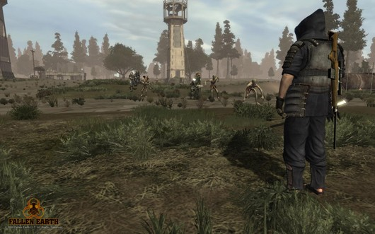Fallen Earth - dude looking at zombies