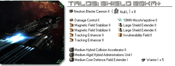 Talos fitting: Shield 20km+ long range blaster
