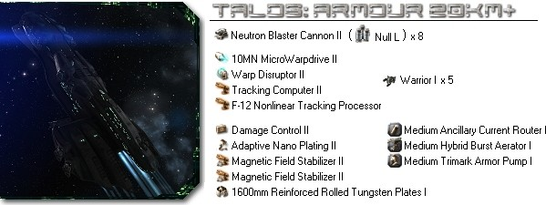 Talos fitting: Armour , 20km+ long range blaster