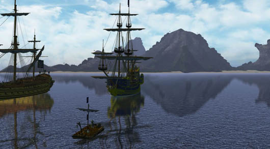 Pirates of the Burning Sea - anchored ships