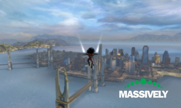 DC Universe Online - gliding over Metropolis