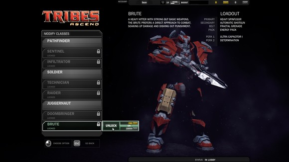 Tribes: Ascend - Class selection screen