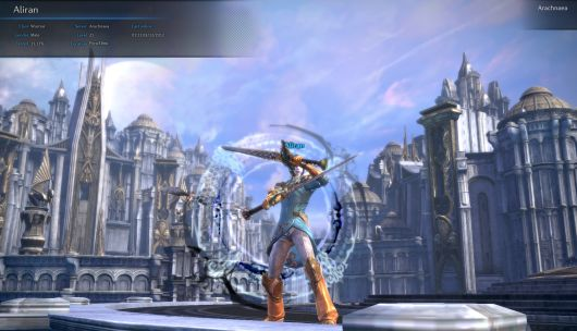TERA's character select screen. Note the dashing baby blue cuirass.