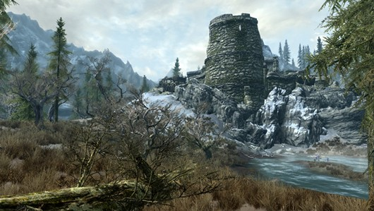 The Elder Scrolls V - Skyrim: screenshot in the mountains