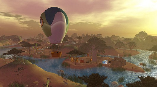 Second Life - hot air balloon at sunset