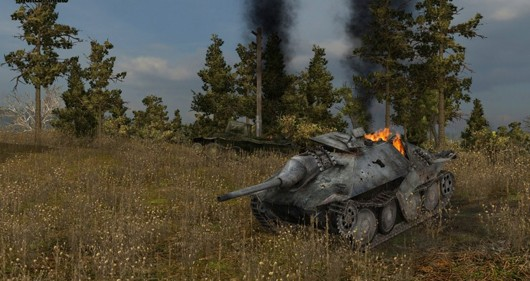 World of Tanks - burning tank