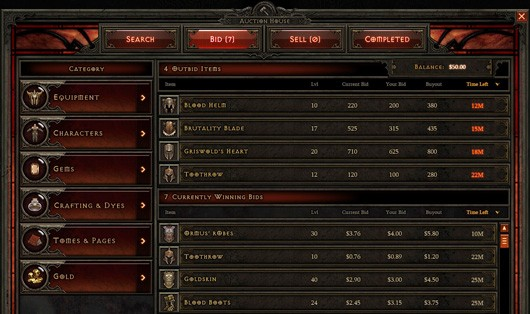 Diablo III's auction house