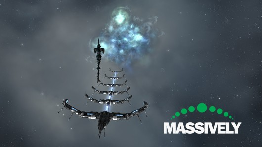 EVE Online - battlecruiser at warp gate