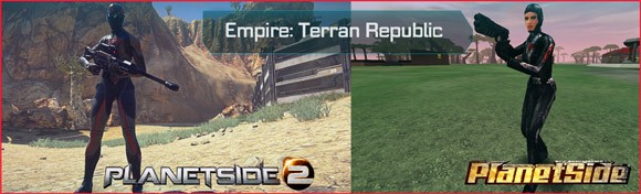 PlanetSide - Terran Republic female before and after