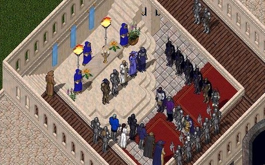 Ultima Online wedding, my guild as honor guard, circa 1998
