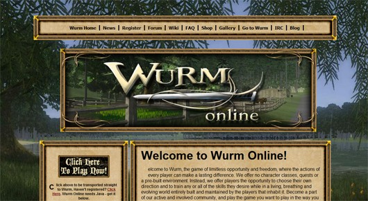 The old Wurm Online website