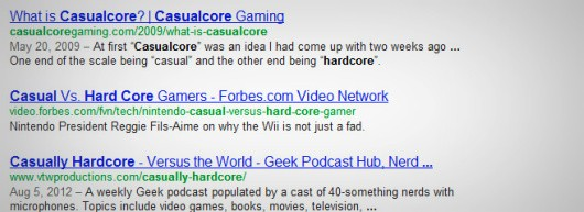 Hardcore Google search screenshot
