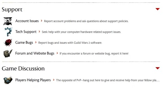 Guild Wars 2 boots up partial forum access