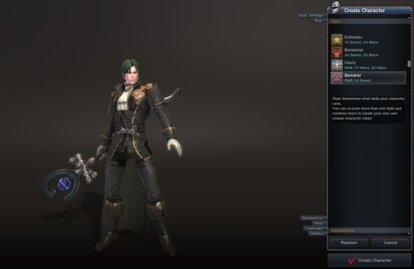 RaiderZ character creation screen