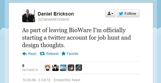daniel erickson leaves bioware  thank the tipster