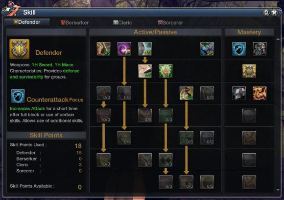 RaiderZ talent tree screenshot