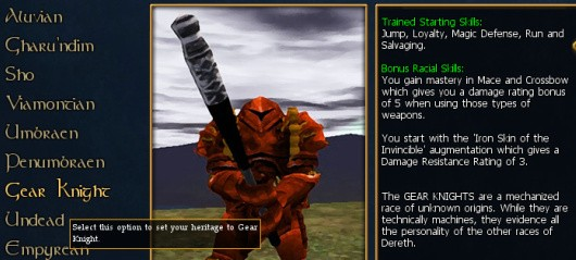 Asheron's Callcharacter creation