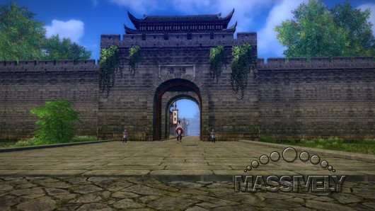 Age of Wushu horse outside a gate