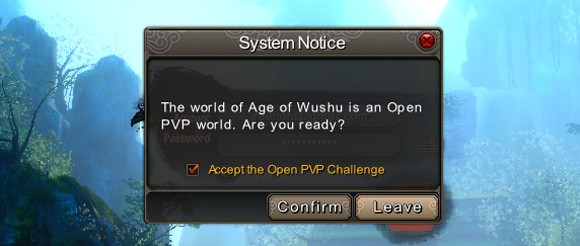 Age of Wushu - open PvP warning
