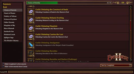 Screenshot -- EverQuest II's guild achievements