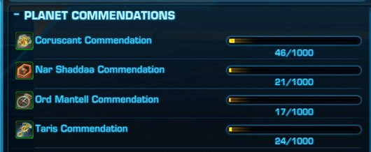 SWTOR commendations window