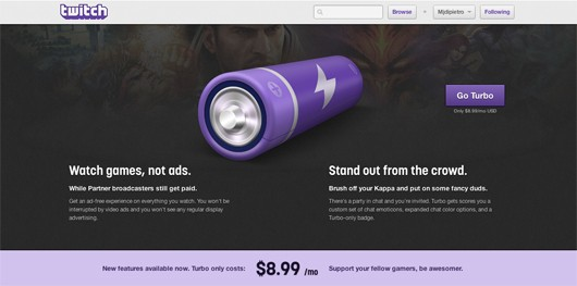 Twitch Turbo landing page