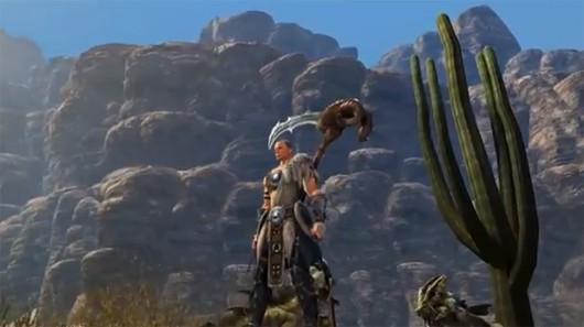 Here's a Dragon's Prophet character next to a giant cactus