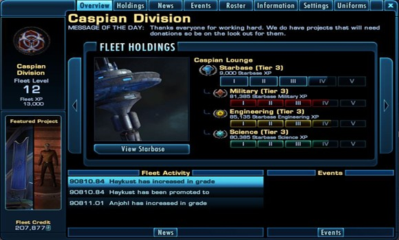 STO Fleet advancement UI home