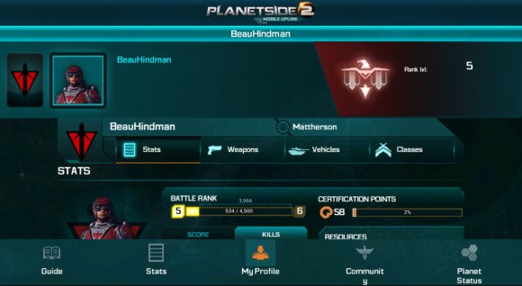 PlanetSide 2 app screenshot