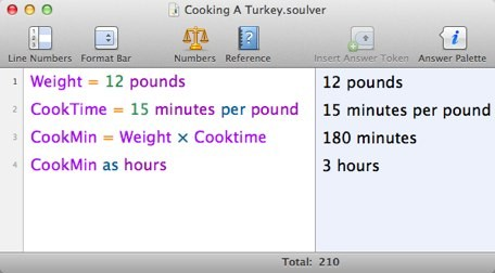 [Soulver page for cooking a turkey]