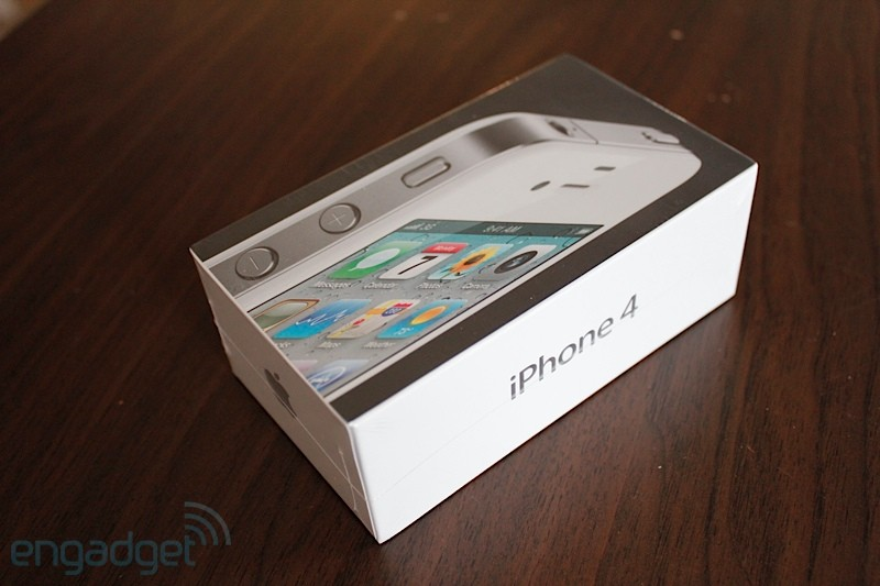White iPhone 4 in box open