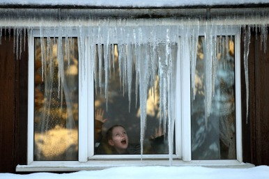 Icicles over a window