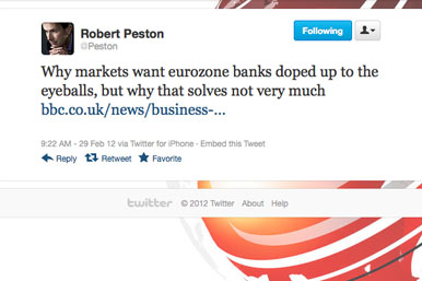 Tweet by Robert Peston, reads: Why markets want eurozone banks doped up to the eyeballs, but why that solves not very much
