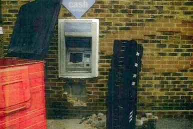 cashpoint damaged by the gang