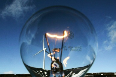 light bulb and wind turbine