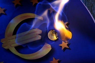 euro melting flag