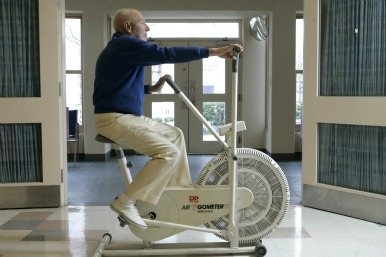 Retiree working out
