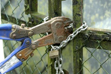Bolt cutters opening padlocked gate