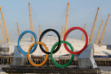Olympic rings in front of the O2