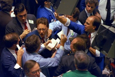 Panicked stock market traders