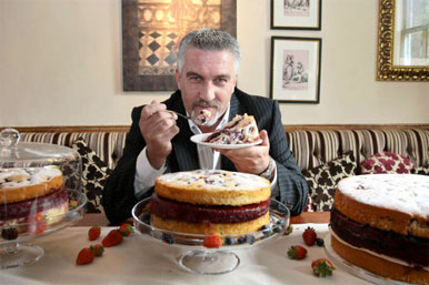 Paul Hollwood with cakes
