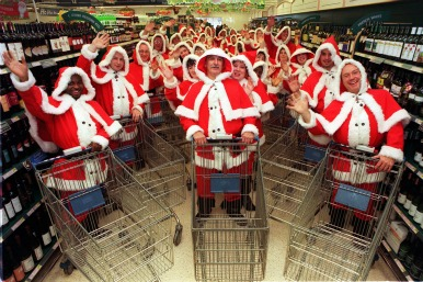 Santas in the supermarket