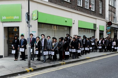 Job centre queue stunt