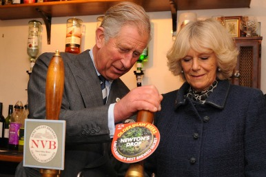 Charles and Camilia with traditional beers