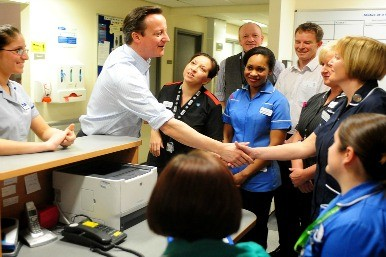 David Cameron with nurses