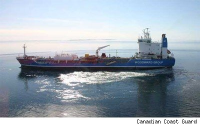 The MV Nanny, seen Wednesday, is aground on an an uncharted sandbar in Simpson Strait, about 50 kilometres southwest of Gjoa Haven, Nunavut, in the Northwest Passage.